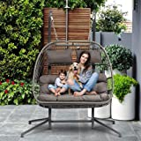 HLJ Double Person Patio Hanging Chair Outdoor Wicker Swing Hammock Swing Egg Chair with Seat UV Resistant Soft Cushions Stand