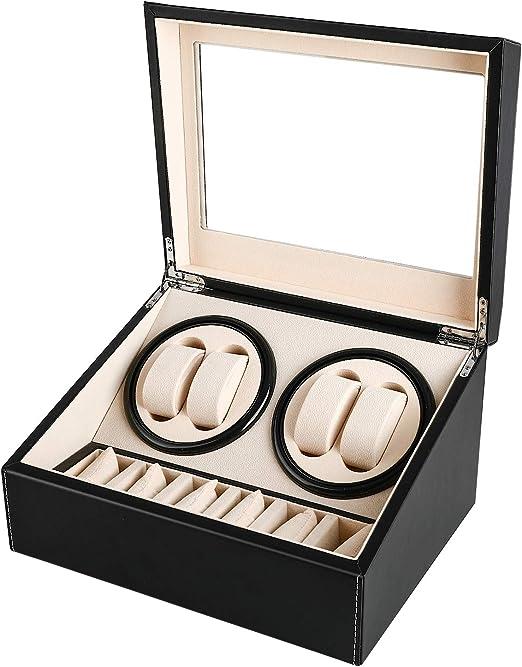 Gifort Watch Winder Cajas giratorias para Relojes automático, Caja de enrollador de Reloj de Cuero de PU para 4 Relojes + 6 almacenes Caja de joyería Caja de Reloj con Motor silencioso: