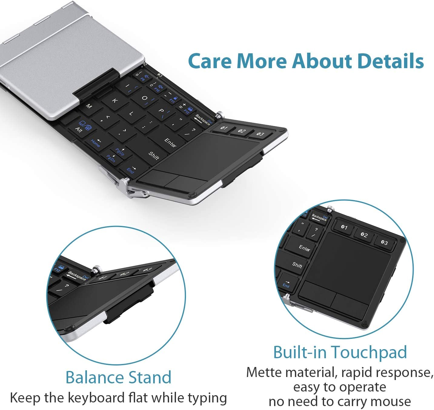 Silver iClever BK08 Bluetooth Keyboard with Sensitive Touchpad Pocket-Sized Tri-Folded Fodable Keyboard for iPad Mac iPhone Android Windows iOS Folding Keyboard Sync Up to 3 Devices