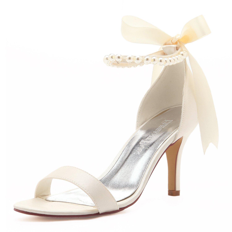 ElegantPark EP11053N Women Ankle Strap Shoes Open Toe Pearls Satin Bridal Wedding Sandals Ivory US 9.5