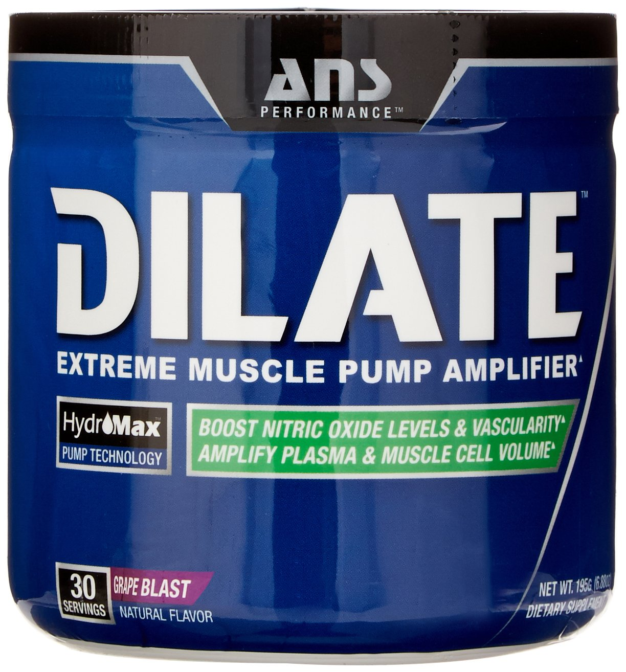 ANS Performance Dilate, Caffeine-Free Pre Workout & Nitric Oxide Booster, Extreme Muscle Pump Supplement, Grape Blast, 30 Servings