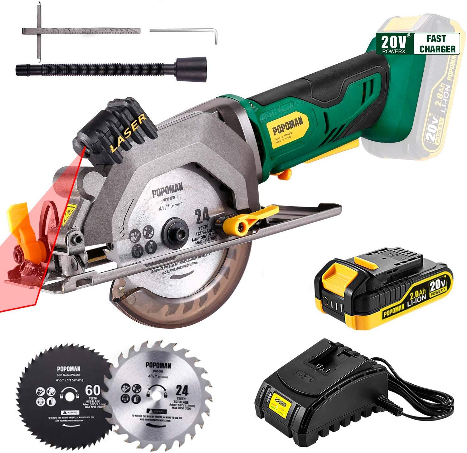 "POPOMAN Cordless Circular Saw, 4-1/2"" Cordless Circular Saw with Laser Guide"
