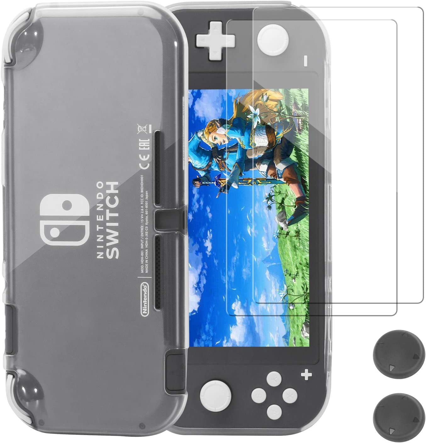 Protective Case for Nintendo Switch Lite, Hommand Comfort TPU Crystal Cover Case With Tempered Glass Screen Protector & Thumb Grip Caps for Nintendo Switch Lite Console 2019