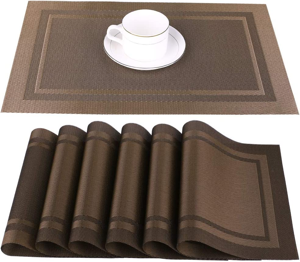 Artand Placemats, Heat-Resistant Placemats Stain Resistant Anti-Skid Washable PVC Table Mats Woven Vinyl Placemats, Set of 4 (Beige): Home & Kitchen