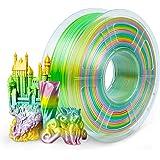 SUNLU Filamento PLA de seda arco iris de 1,75 mm, filamento degradado para impresora 3D multicolor, 1 kg/carrete, 0,02 mm, se
