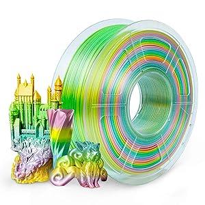 SUNLU Silk Rainbow PLA Filament 1.75mm, Gradient 3D Printer Filament Multicolor 1KG/Spool, 0.02 mm, Rainbow Silk