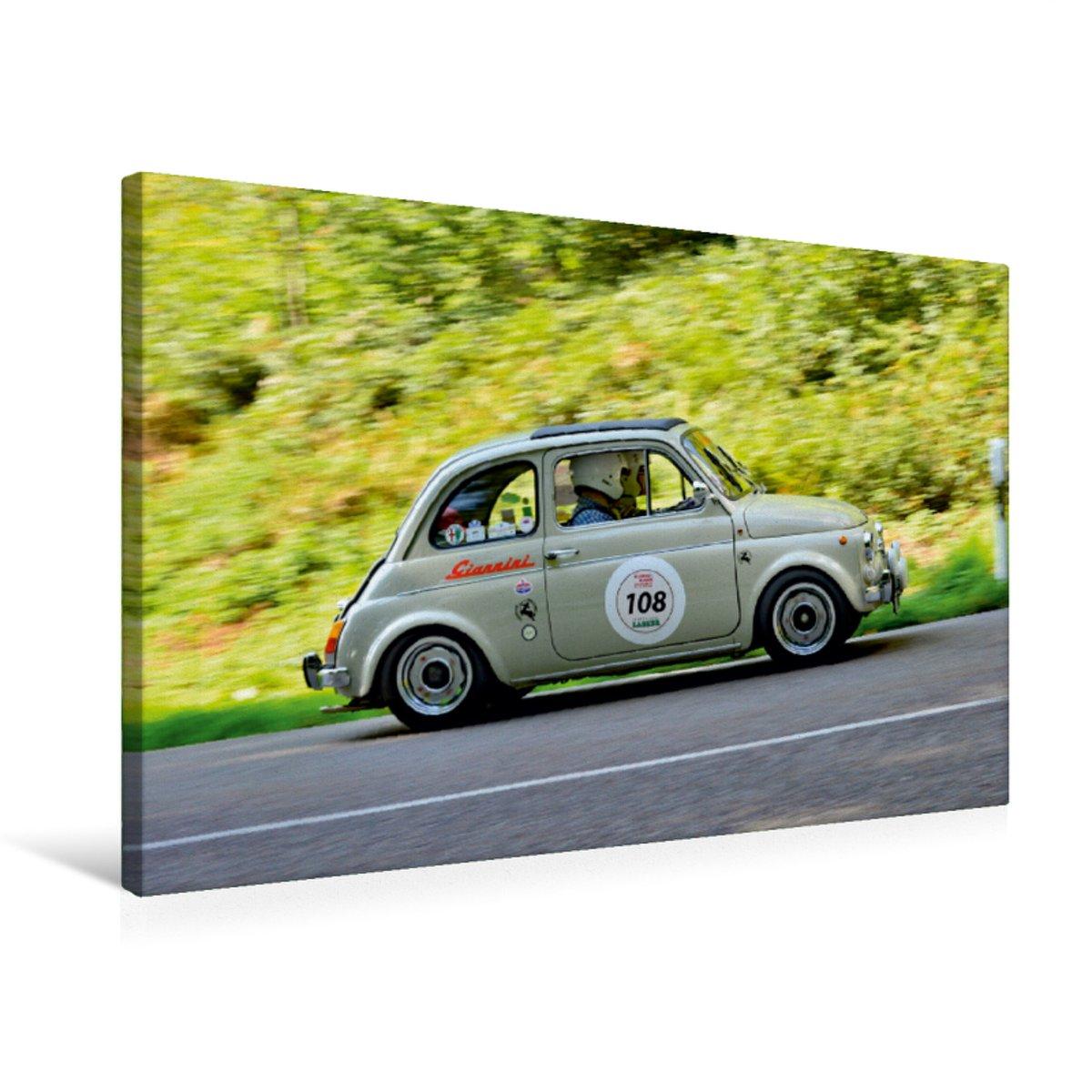 Premium Textil-Leinwand 75 x 50 cm Quer-Format Fiat Giannini 500 Tributo Montecarlo - 1967   Wandbild, HD-Bild auf Keilrahmen, Fertigbild auf hochwertigem Vlies, Leinwanddruck von Ingo Laue