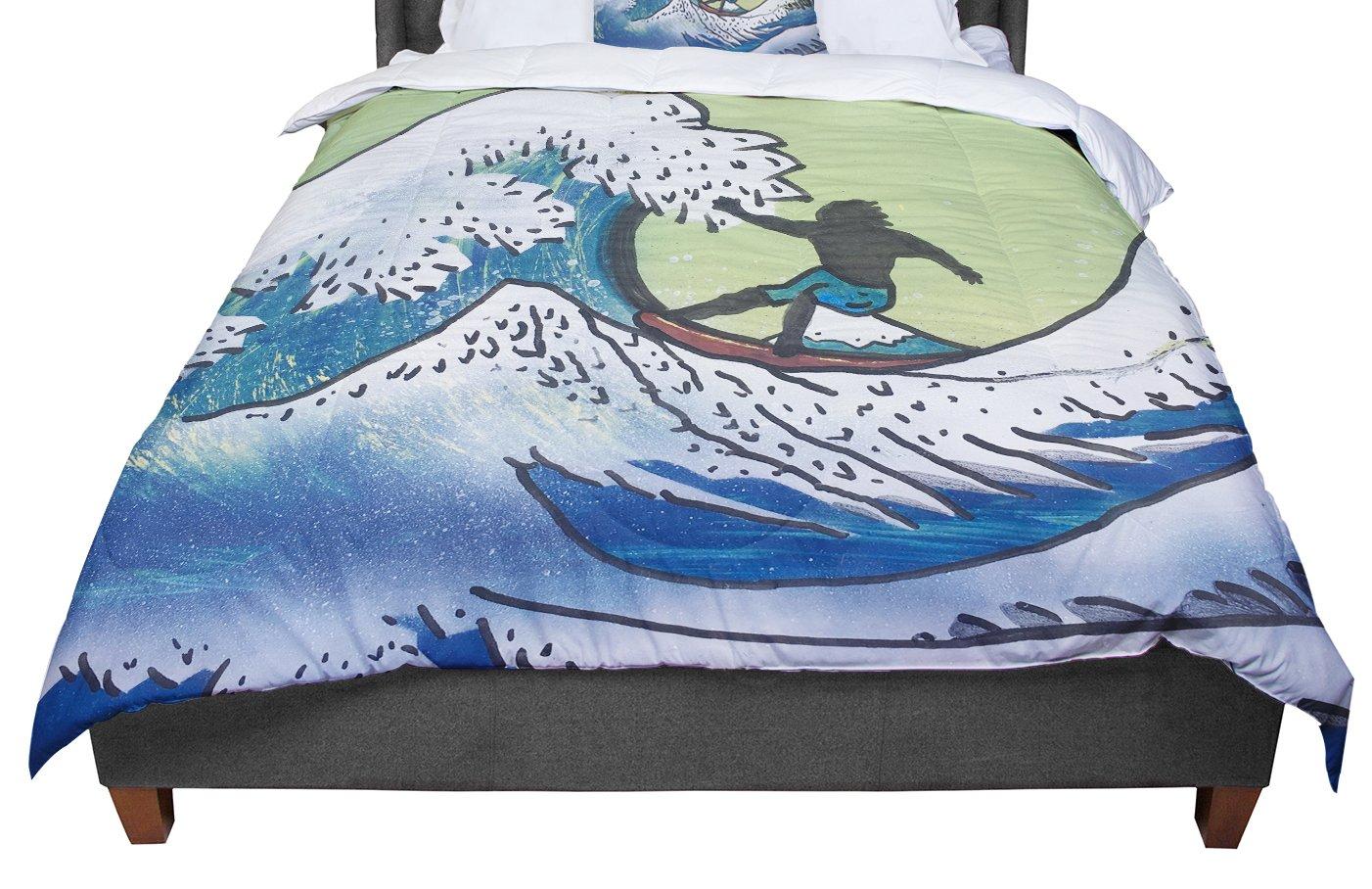 Cal King Comforter 104 X 88 KESS InHouse Infinite Spray Art Hokusai Remake Blue Green King
