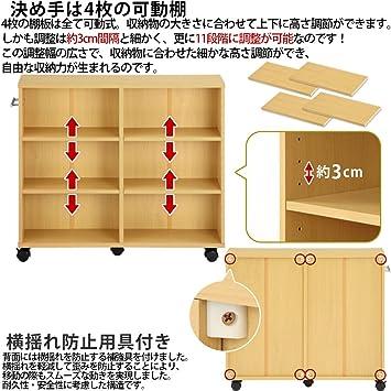 77cad6afc2 Amazon|ぼん家具 本棚 キャスター付き 2台セット 隙間収納 木製 取っ手付き 収納カート 押し入れ収納 〔幅26cm〕 ホワイト|本棚  オンライン通販