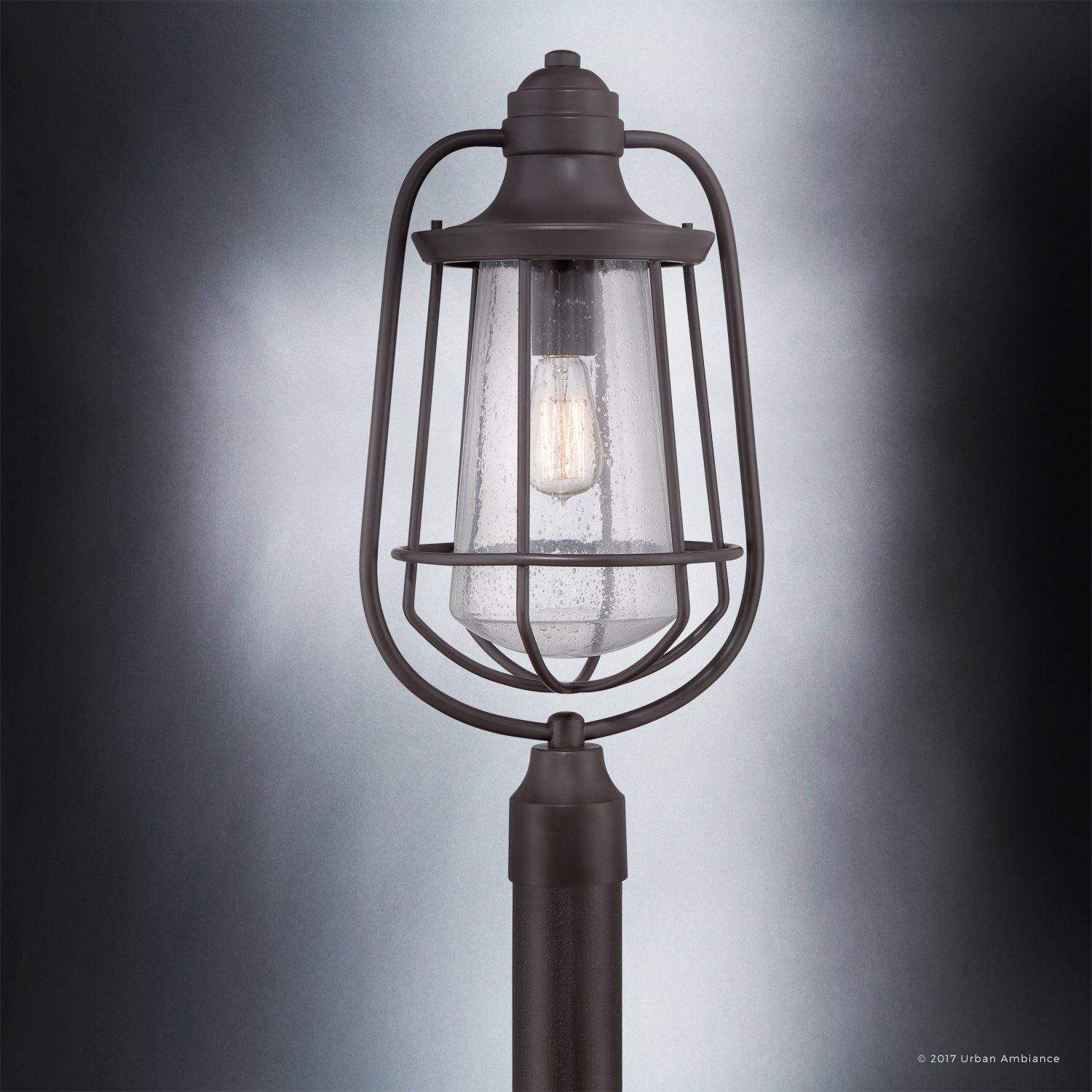 Luxury Vintage Outdoor Post Light, Large Size: 23''H x 11''W, with Nautical Style Elements, Cage Design, Estate Bronze Finish and Seeded Glass, Includes Edison Bulb, UQL1124 by Urban Ambiance by Urban Ambiance (Image #5)