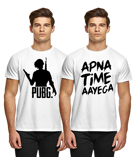 0443ab82d Broyz Pubg and Apna time aayega Men Round Neck White Combo T-Shirt:  Amazon.in: Clothing & Accessories