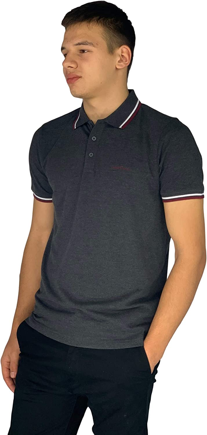 MENS PIERRE CARDIN TIPPED POLO SHIRT BLACK  SMART POLO SHIRT SMALL /& LARGE