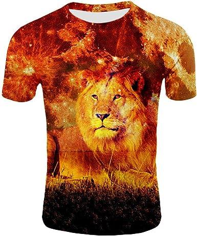 Camisetas, 3D Impresión Digital Realista Feroz Fuego León Deportes Ocasionales Camisa De Manga Corta @ Lion_3XL: Amazon.es: Ropa y accesorios