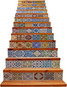 TUOKING 13 pcs Stair Stickers, PVC Home Decor Decals, Self-Adhesive Refurbished Staircase Murals, 39''L x 7''W, Ceramic Tiles Pattern