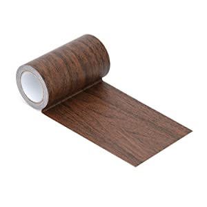 """Repair Tape Patch 2.4"""" X15' Wood Textured Adhesive for Door Floor Table and Chair(Dark Walnut)"""