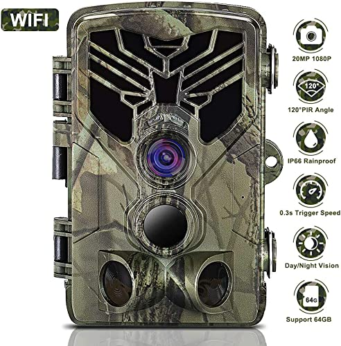 JINDUN WiFi Trail Camera 20MP 1080P Night Vision Motion Activated, IP66 Waterproof Game Hunting Scouting Cam with 3 Infrared Sensors for Outdoor Wildlife, Garden and Home Security Surveillance