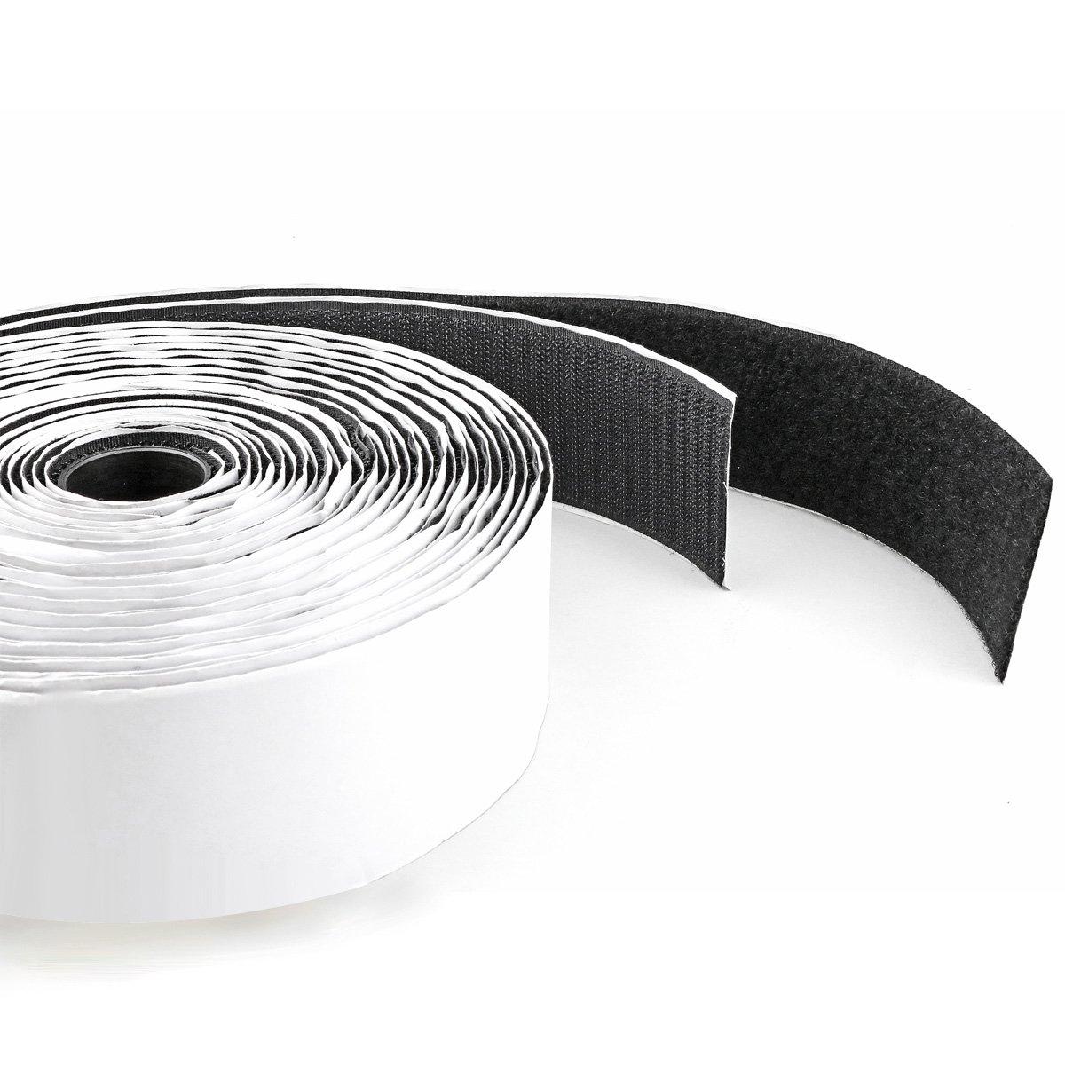 Hook & Loop Self Adhesive Strong Gripping Fastener Tape 1' x 16' Industrial Strength - Black