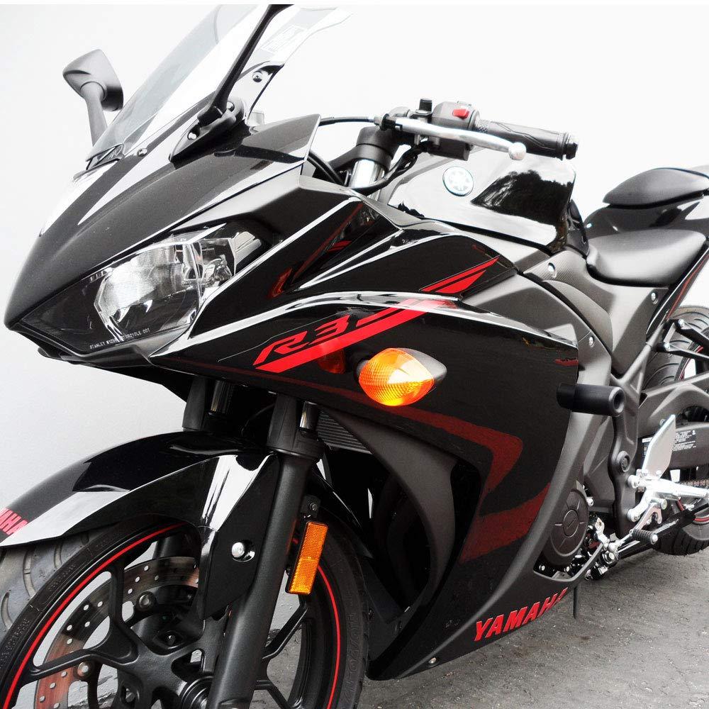 Shogun 2015 2016 2017 2018 Yamaha YZF-R3 YZF R3 Black No Cut Frame Sliders - 750-6129 - MADE IN THE USA
