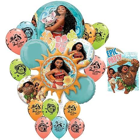 Disney Moana Maui Birthday Girl Epic Party 18 Balloon Bouquet 16 Invitations