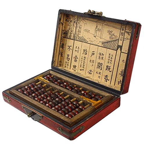 Larcele Traitement de Vieillissement Vintage Perle en Bois Arithmétique Laque Abacus Fournitures Scolaires pour les Enfants SP-01