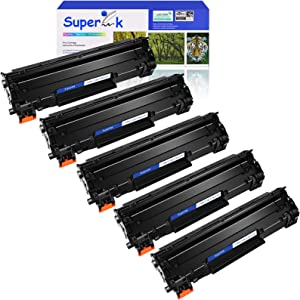 SuperInk 5 Pack High Yield Compatible Toner Cartridge Replacement for HP CE278A 78A Black use in Laserjet P1560 P1566 P1606 P1606n P1606dn M1536dnf Printer