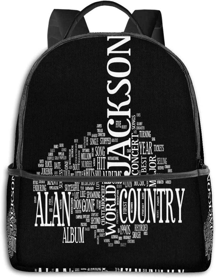 Alan Jackson Casual Fashion Black Backpack Backpack Man Woman Travel School Laptop