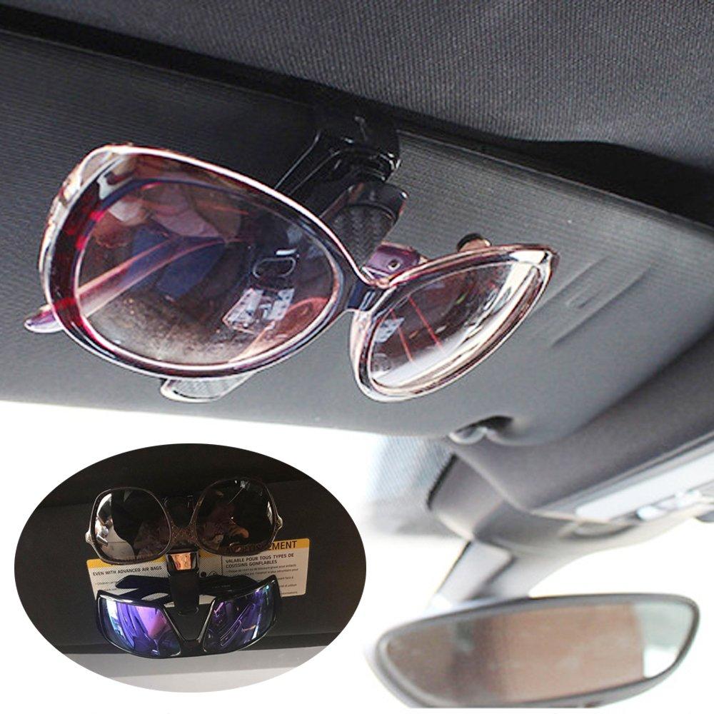 Soporte Amison para gafas de sol con pinza para la visera del coche conjunto doble con ranura para tarjetas