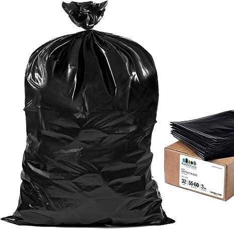 "38 X 58 X 3Mil 50 Bags Black Trash Bag 55-60 Gallon 38/"" X 58/"" X 2-3Mil"