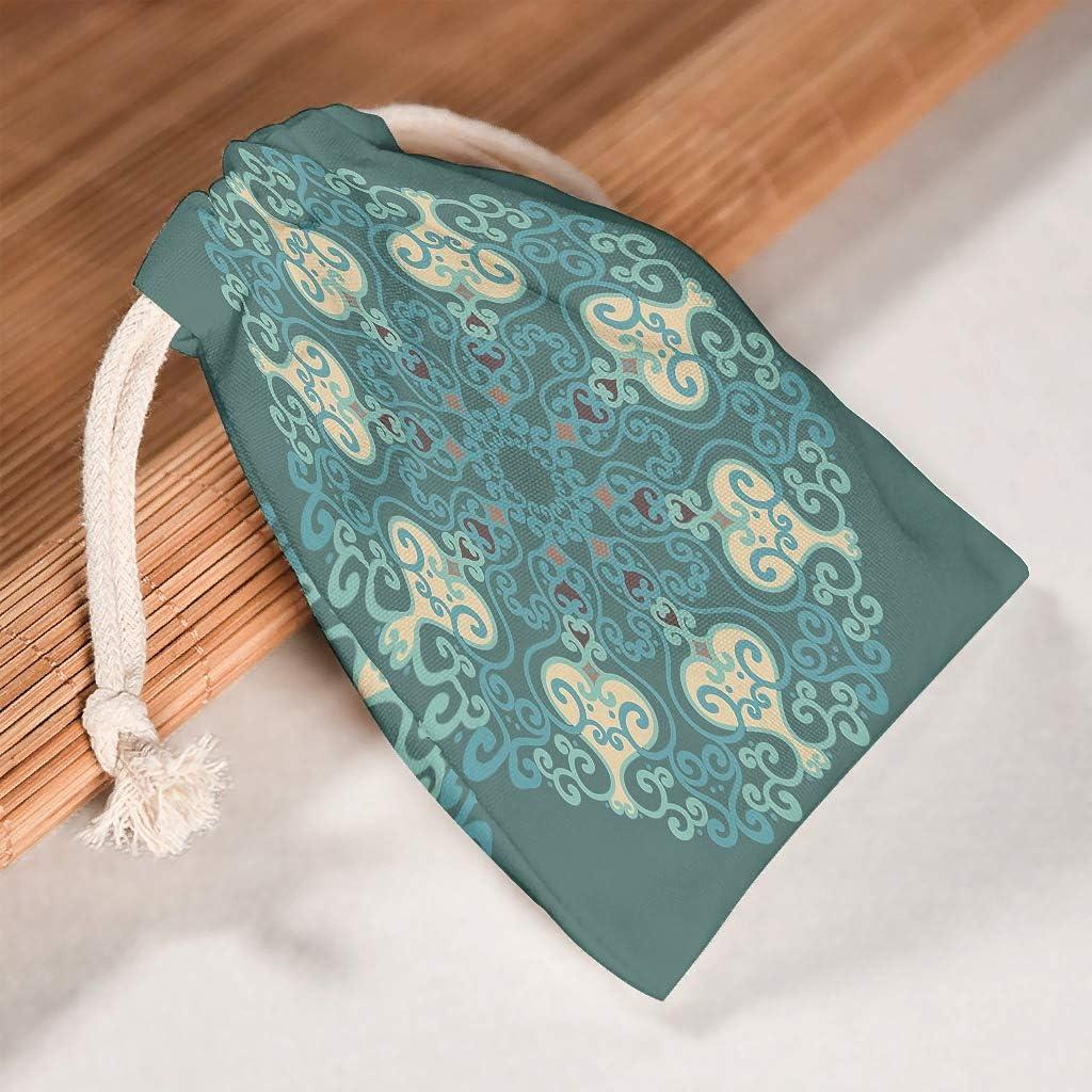 Lind88 - Juego de 6 Bolsas de Tela con cordón, Lavables, para Usar en Bolsas de Regalo de Año Nuevo, Boda, diseño de Mandela Art, Tela, Blanco, 20 * 25cm