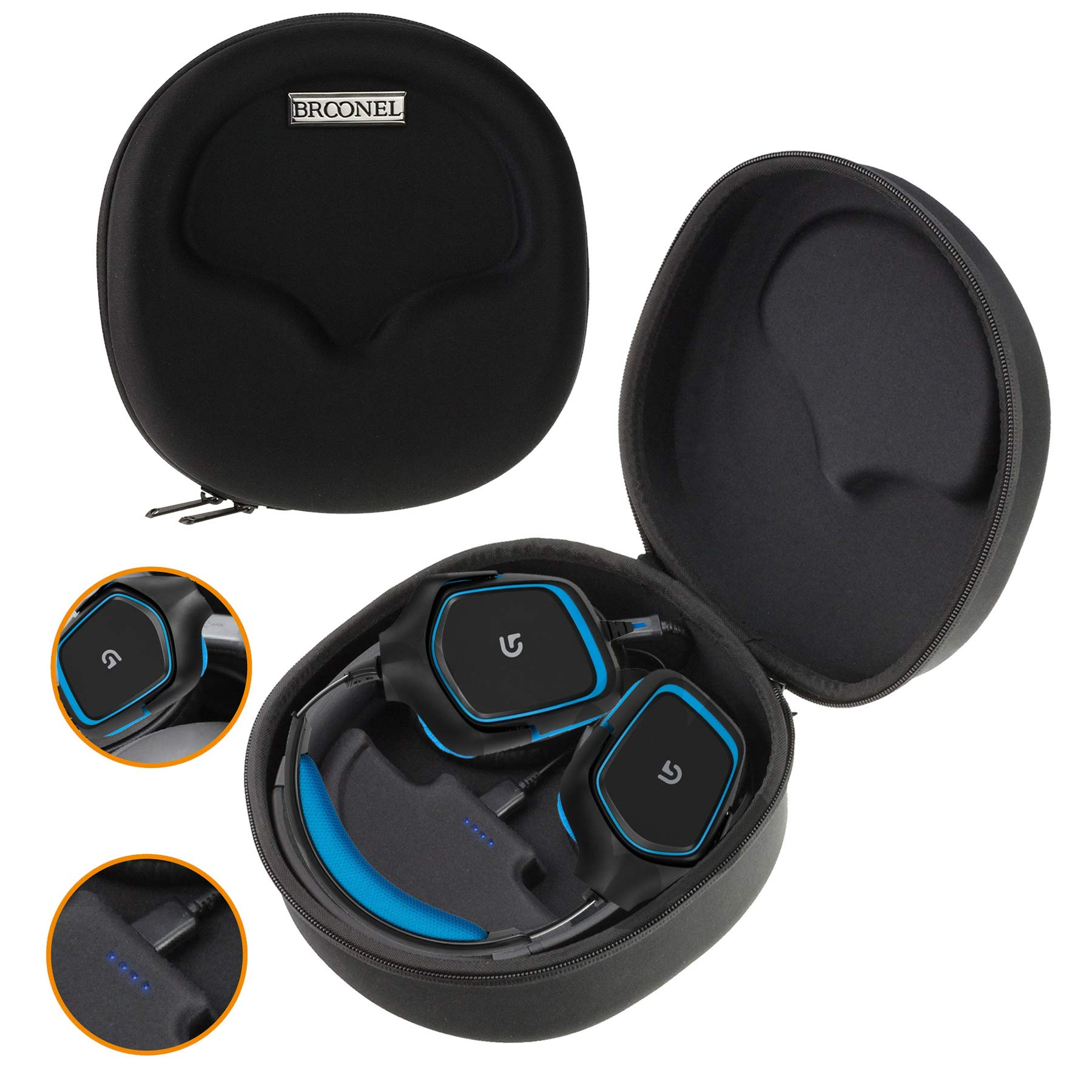 Navitech Black Hard Eva Carry Case (with Built in Power Bank) Compatible with The Wireless Gaming Headset and Headphones Compatible with The Turtle Beach Stealth 700