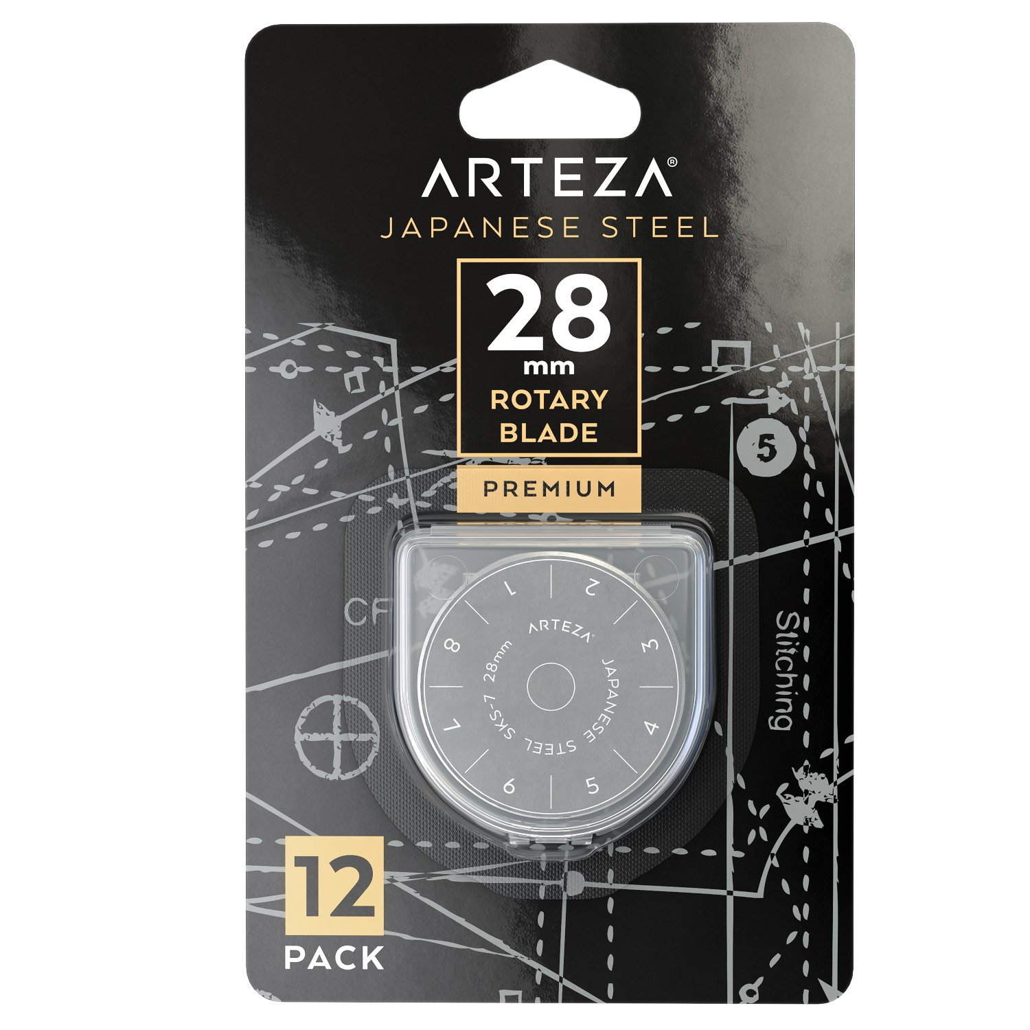 Arteza 28mm Quilting Rotary Cutter Replacement Blades, Fits Olfa & Fiskars (SKS-7, Pack of 12) ARTZ-8042