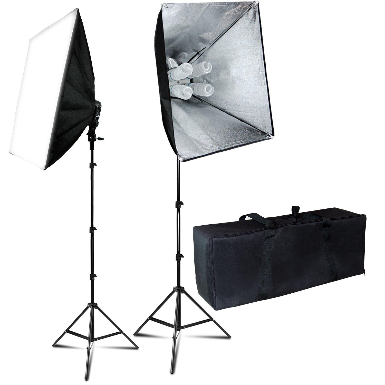 Julius Studio 24''X16'' Soft Box Photography Continuous 800W Lighting Kit Photo Studio Equipment with 4 Socket Light Bulb Adaptor, 8pcs E27 Video Lighting Bulb, Portraits Shooting Box JSAG314V2