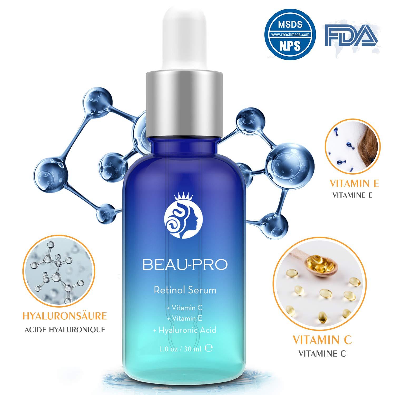 Retinol Serum - 2,5% hohe Konzentration von Retinol, Vitamin C, Vitamin E, Oligopeptid und Hyaluronsäure | Resistent gegen freie Radikale, Anti-Aging, glättet Falten, vermindert Pigmentflecken, tiefe Feuchtigkeit in der Dermis-Schicht, Öl-Kontrollen, reduz