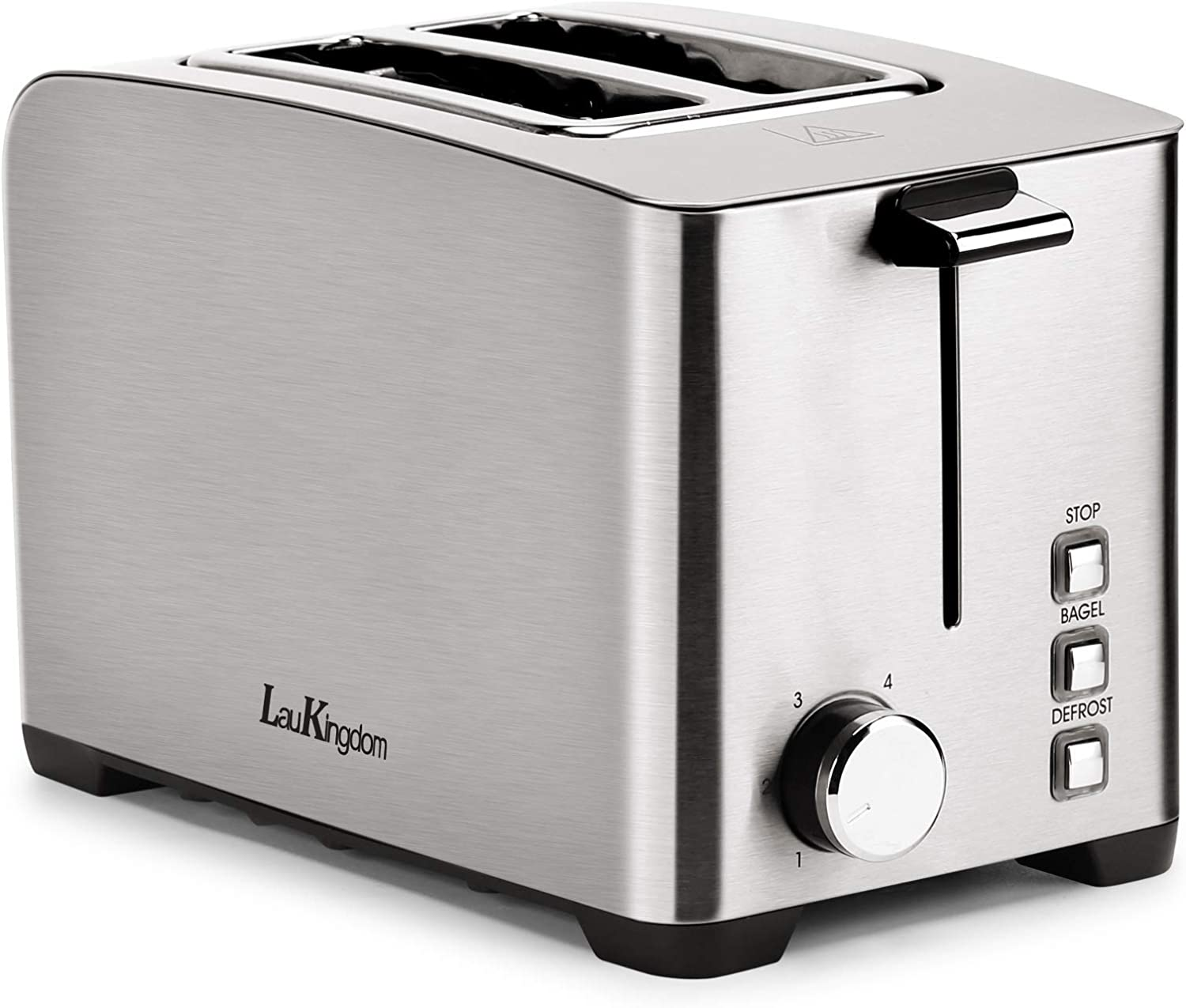Toaster 2 Slice Long Slot, LauKingdom Auto Pop-Up Stainless Steel 1.57