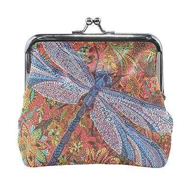 XiangHeFu Cartera Mujer Monedero Dragonfly Flower Clutch Bag ...