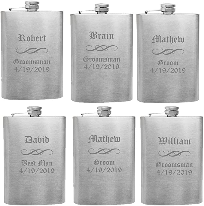 10oz or 8oz SET Stainless Steel Mens Gift Personalised Engraved Hip Flask 6 8
