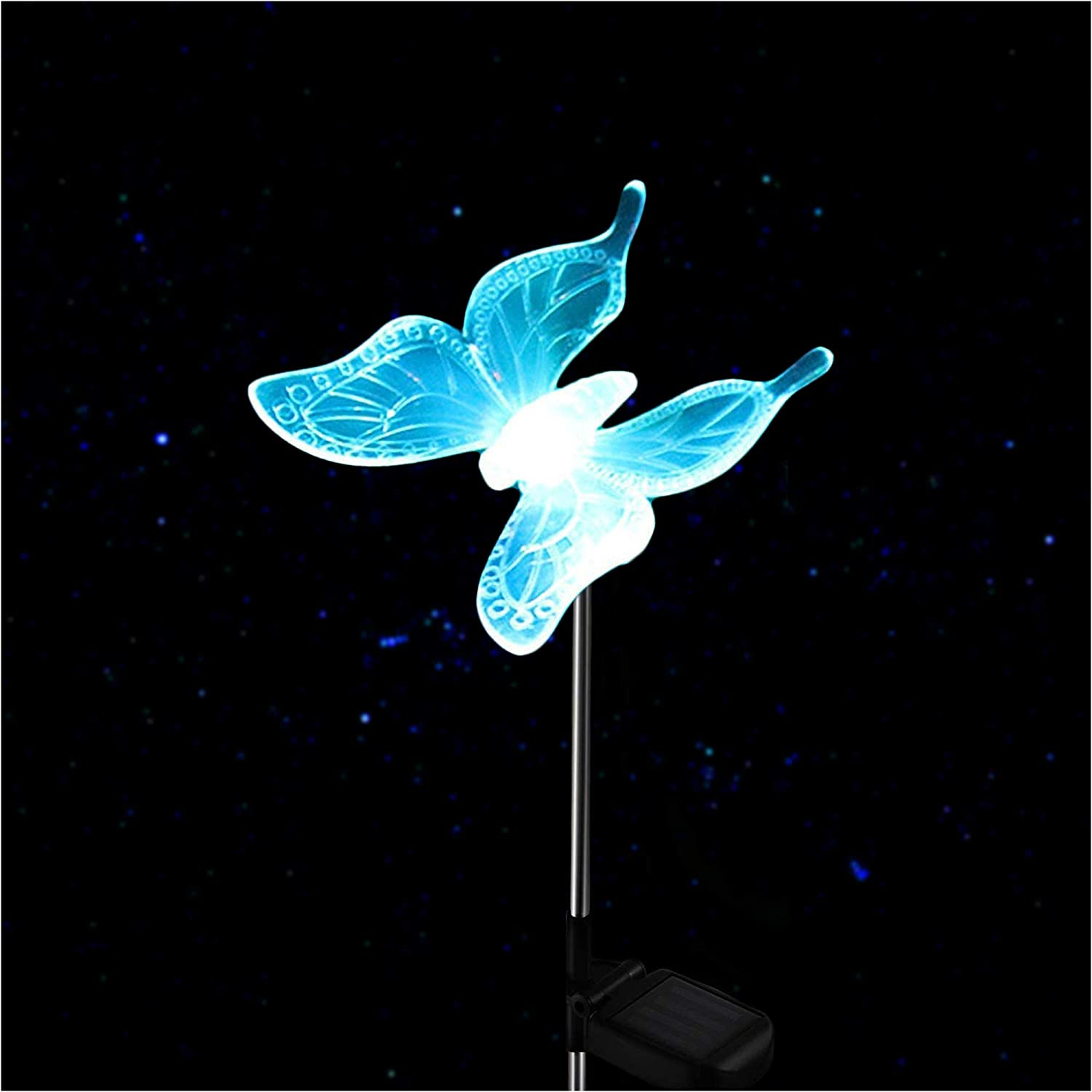 Outdoor Solar Garden Stake Light - Color Changing Decorative LED Stake Lamp In-ground Landscaping Lighting for Garden Patio Yard Lawn Pathway Flower Bed Decor Decorations Figurine Butterfly