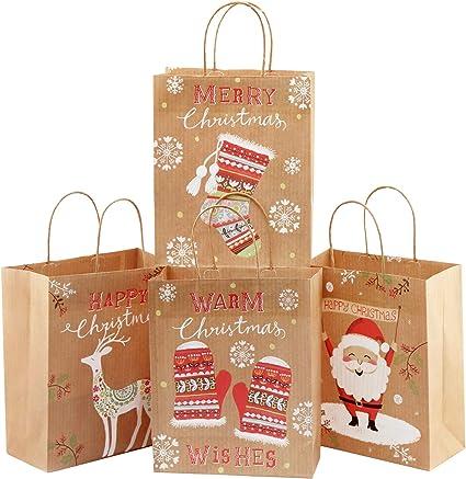 Amazon.com: Bolsas de regalo de papel con asas de cuerda ...