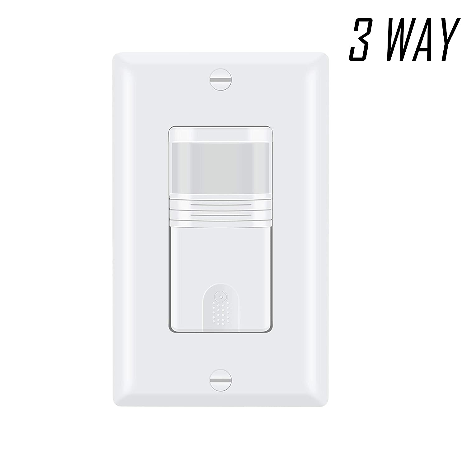 ECOELER Single Pole / 3 Way Motion Sensor Light Switch, Neutral Wire Required, Multi-Dual Sensing Switch for Indoor Use