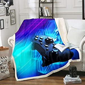 """Game Gamepad Fleece Blanket,Boys Youth Teens Gamer Room Decor Throw Blanket, Fashion Video Games Sherpa Blanket for Kids Girls Bedroom, Novelty 3D Action Buttons Gaming Blanket Throw 50""""x60"""""""