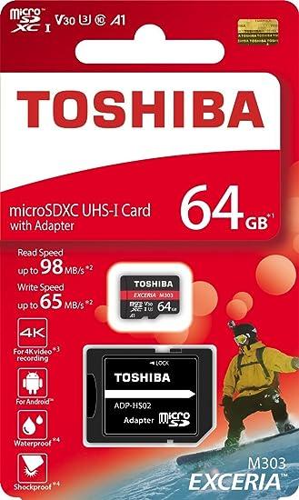 TOSHIBA Micro SD Card Memory Card 64GB 64G EXCERIA M303 with SD Adapter microSDXC UHS-I U3 Card 4K Class10 V30 A1 microSD Read 98MB/s Write 65MB/s ...