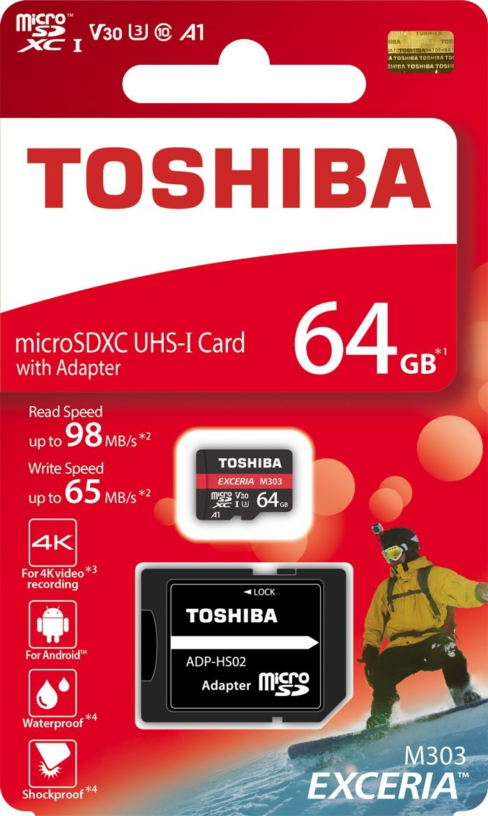 Toshiba 64GB 64G EXCERIA M303 with SD Adapter microSDXC UHS-I U3 Card 4K Class10 V30 A1 microSD micro SD Card Memory Card Read 98MB/s Write 65MB/s ( THN-M303R0640A2 ) TOSHIBA MEMORY CORPORATION