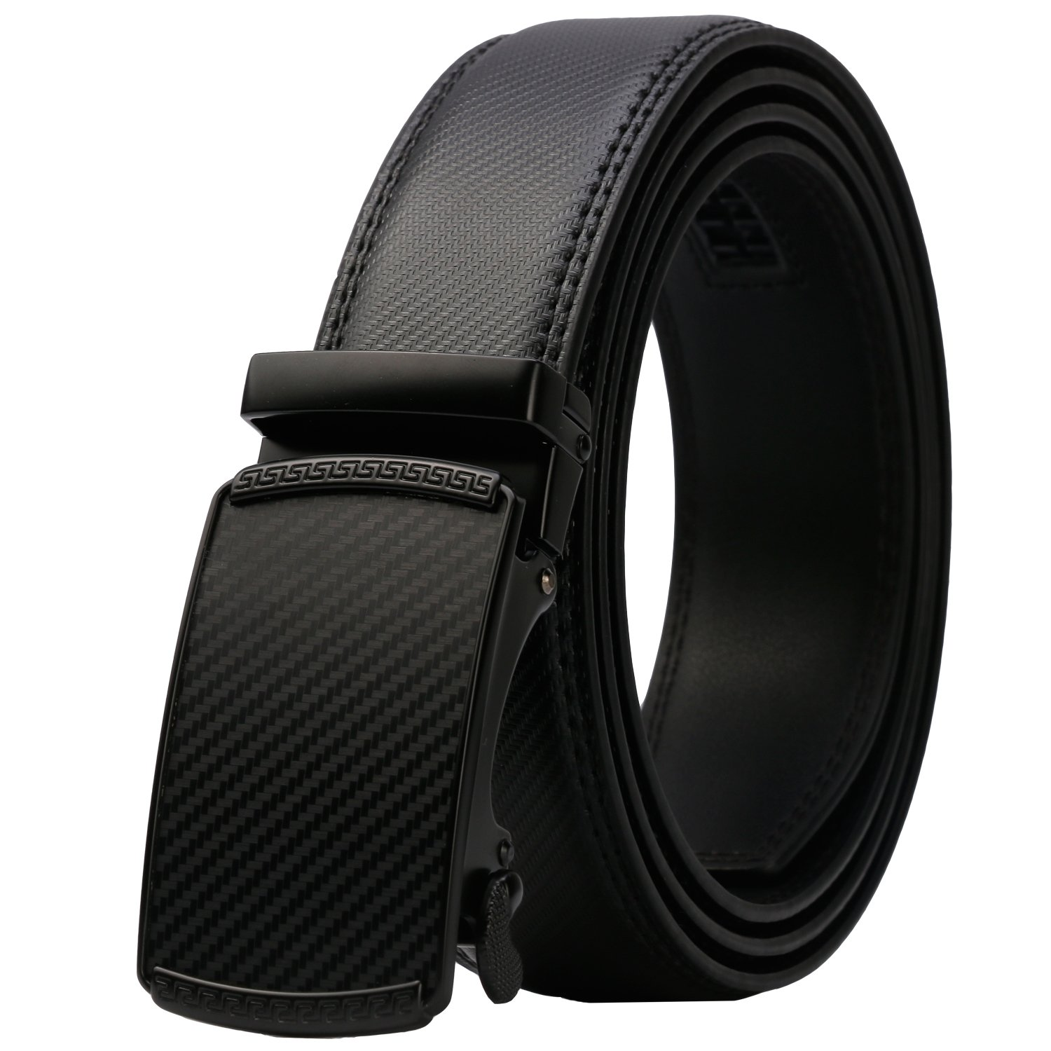 Lavemi Men's Real Leather Ratchet Dress Belt with Automatic Buckle, Elegant Gift Box