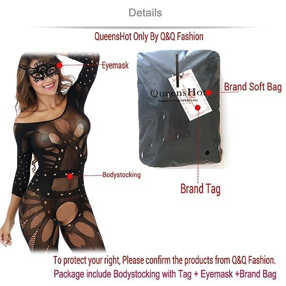 0aa4d511b48 Amazon.com  QueensHot Sheer Black Lingerie Babydoll Crotchless Teddy Nightie  Leotard Body Suit Stocking