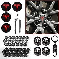 Aero Wheel Cap kit for Tesla Model 3, Tesla Model 3 Chrome Lug Nut Cover Caps with Puller, Center Hub Cap with Logo fit…