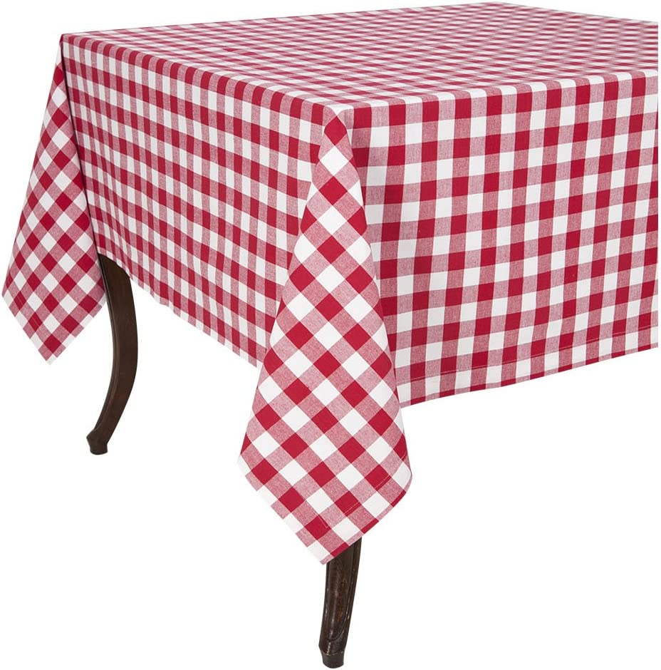 "KAF Home Buffalo Tablecloth in Cherry & White Woven Check , 52"" by 52"", Easy Care, Machine Washable"