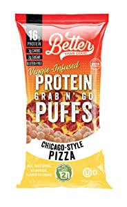 BETTER THAN GOOD Keto Protein Puffs | 16g Protein, 2 Servings of Fruits & Veggies | Paleo, Low Sugar, Low Calories, Gluten Free, Diabetic Friendly Keto Snacks (Chicago Style Pizza)