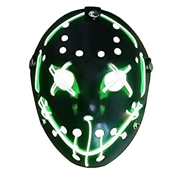 Mallalah Máscara de Halloween LED Light Up Purge Mask Jason Scary Máscara para Fiesta de Disfraces