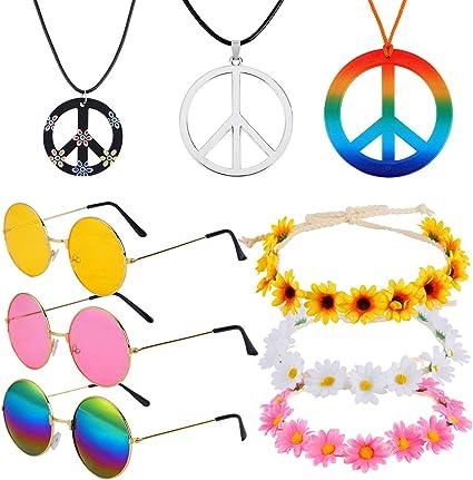 Womens Daisy Flower Glasses 60s 70s Hippie Hippy Festival Fancy Dress Accessory
