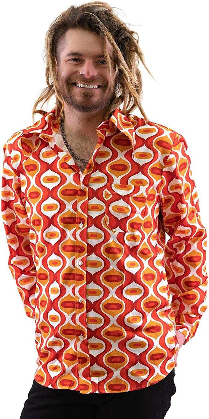 COMYCOM - Camisa de Fiesta, diseño de los años 70, Color Naranja: Amazon.es: Ropa y accesorios